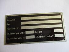 Oldtimer schild Typenschild Kitcar Bausatz Eigenbau neutral ID-plate s28 Buggy