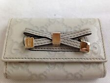 Authentic GUCCI Guccisima 6 Hook Key Case Ivory Leather 5i291370p