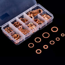 200pcs Copper Washer Gasket Set Flat Ring Seal Assortment Case M5-M14 9 types