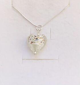 Stunning White Murano 925 Silver & Flecks Heart Pendant & 925 Silver Chain