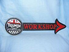 Triumph Arrow Cast Iron Sign Man Cave Garage Fence Wall Sign Plaque Workshop