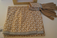 Michael Kors 3-piece set Scarf Muffler Hat Gloves Camel White MK Logo Gift Box
