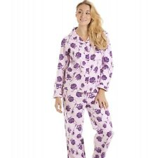 Camille Womens Ladies Pink And Purple Floral Wincy Full Length Pyjama Set