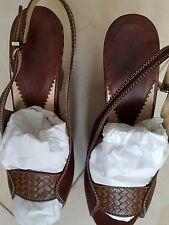 Emporio Armani Women's Brown High Heel Sandals leather platform size 40