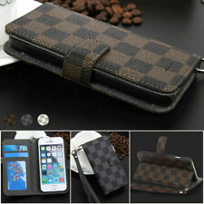 Luxury Deluxe Grid Wallet Flip Leather Stand Card Phone Case Cover