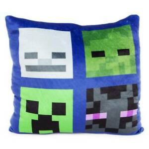 "NEW Kids Minecraft Reversible Squishy Soft Pillow Square 14"" Animals Mobs"