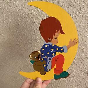 Märchen-Holzbild ALT 1960er  21cm Mertens-Kunst Mond Vintage Kinderzimmer Deko