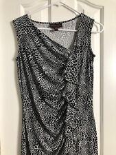 Dana Buchman Dress Womens Animal Cheetah Print Sleeveless Ruffle Front Sz Small