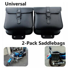 Fashion 2x Motorcycle Saddle Bags PU Leather Side Storage Tool Pouch Waterproof