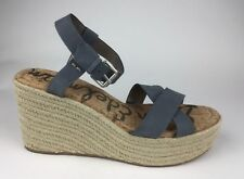 9eb1917d7ed0 Sam Edelman Destin Womens Blue Leather Ankle Strap Sandals Wedge Heels Sz  US 10