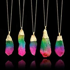Chain Rainbow Crystal Natural Quartz Necklace GEMSTONE Colorful Stone Pendant