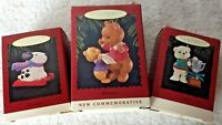 Hallmark Lot of 3 Bears & Dog Christmas Tree Ornaments In Boxes
