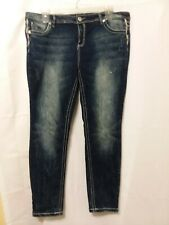 Almost Famous Jeans Women's Size 20 Blue Distressed Skinny Leg Stretch Jeans