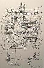 MILDA VIZBAR NEW YORK CITY ORIGINAL  ILLUSTRATION DRAWING FIGURE SHOWER STUDY
