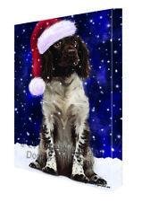 Let it Snow Christmas Holiday Munsterlander Dog Santa Hat Canvas Wall Art