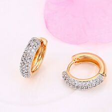 "9ct 9K Yellow & White ""Gold Filled"" White Stones Small Hoop Earrings 19mm ,748"