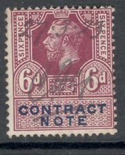 George V  - 6d Mauve - Contract Note - Good Used.