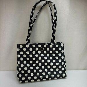 Kate Spade Black White Apples Nylon Tote Shoulder Bag Apple
