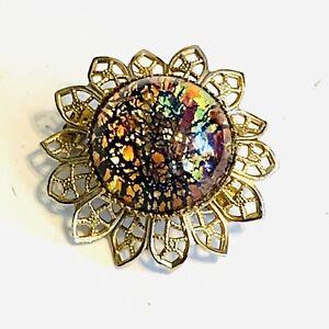 Vintage Foil Glass Opal Scatter Pin Brooch