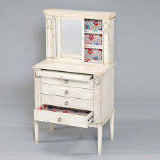 Leven Jewelry Armoire Storage Cabinet Sliding Mirror Door Antique White Drawers