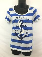 Glamour Kills Juniors Shirt Blue and White Striped Flying Pig Design Size Small