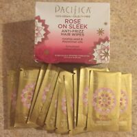 Pacifica Rose On Sleek Anti Frizz Hair Wipe Rosehip Oil Abyssinian Pack Of 2