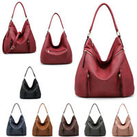 Ladies Faux Leather Front Zip Slouch Shoulder Bag Hobo Travel Handbag MA36541
