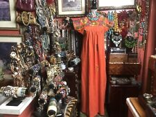 Very Pretty Vintage Burnt Orange Oaxacan Mexican With Multi Embroidery Dress L