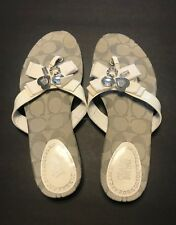 COACH Serenity Patent Leather Flip Flops Sandals Bling Charm  Women size 6