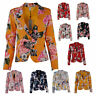 Womens Italian Rose Floral Polyester Lined Shoulder Padded Smart Blazer Jacket