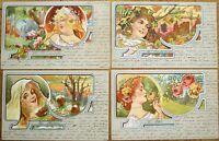 Art Nouveau 1900 SET OF FOUR SEASONS Postcards - Color Litho, Women