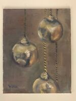 "Ornaments Christmas Original 8"" x 10"" Painting on  Canvas Board Signed Word Art"