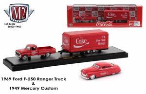 1:64 M2 Machines *COCA COLA TW02* 1969 F250 Truck Trailer & 1949 Mercury NIB