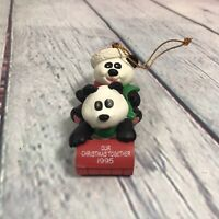 "Vintage 1995 Panda Bears Sledding Christmas Ornament AGC Resin - 3.25"" Long"