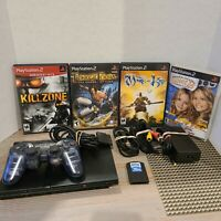 Sony PS2 Playstation 2 Slim Console with 4 Games, 1 Memory Card, 1 Controller