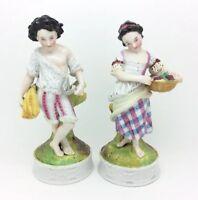 Antiguo Continental Porcelana Victoriano Spillvase Figura Niño Niña Otoño 17.8cm