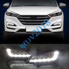 For Hyundai Tucson 2016 2017 2018 Pair LED DRL Daytime Running Light Fog Lamp