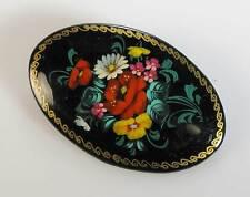 Russische Lackmalerei Brosche Holz Blumen Mohn signiert Miniaturmalerei oval