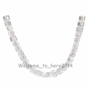 50pcs New 6mm Cube Square Loose Crystal Glass Beads Charms Findings 51Colors