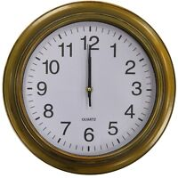 Large 35cm Round Wall Clock With Quartz Movement Brushed Gold Antique Style
