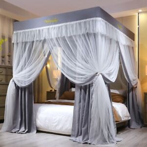 Luxury mosquito net for summer bed canopy with stainless steel frames gray color