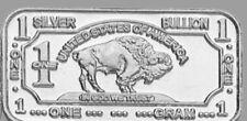 Barres Argent 999 Argent Fin Américain Buffallo 1 Gramme Silverbar Argenté