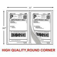 200 Shipping Labels 8.5 x 5.5 Half Sheets Round Corner 2Label Per Sheet 8.5 x 11