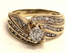 10k yellow gold womens cluster SI3 H diamond ring .385ct ring 4.5g estate