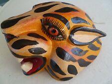 Mexican Folk Art Guerrero Carved Wood Jaguar Head Mask Wall Hanging