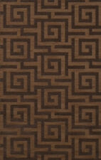 Yellow Transitional Hand Hooked Squares Curls Blocks Area Rug Geometric DV13