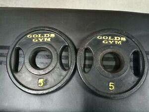 "2 Vintage 5 Lb Golds Gym, Olympic Plates 2"" Set. 10 lb Total. Rare 2 Hole Grip."