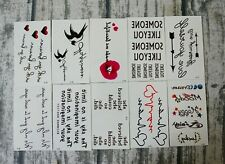 Temporary Tattoo Waterproof Stickers, 10 Pieces, Latin Characters Heart Arrow