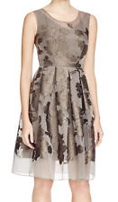 ELIE TAHARI 'Jessy'~ Brown Floral Mesh Pleat Fit & Flare Party Dress 8 NEW $448