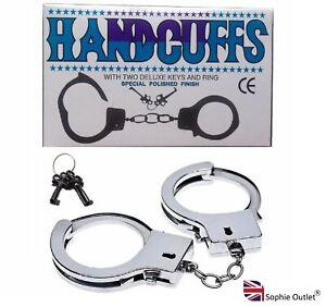 STEEL METAL HANDCUFFS + KEYS Handcuff Hen Do Sexy Stag Night Policeman Handcuff